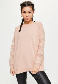active-nude-mesh-sleeve-sweatshirt