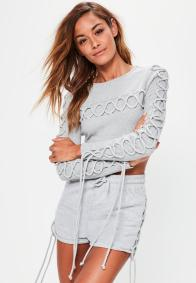 grey-lace-up-detail-crop-top
