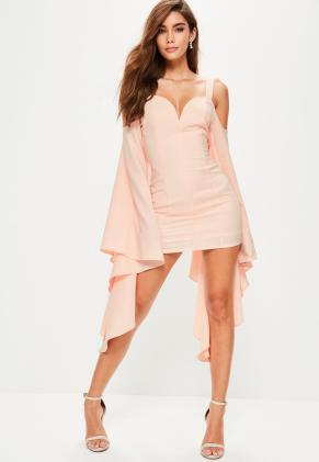 pink-crepe-flared-sleeve-bodycon-dress